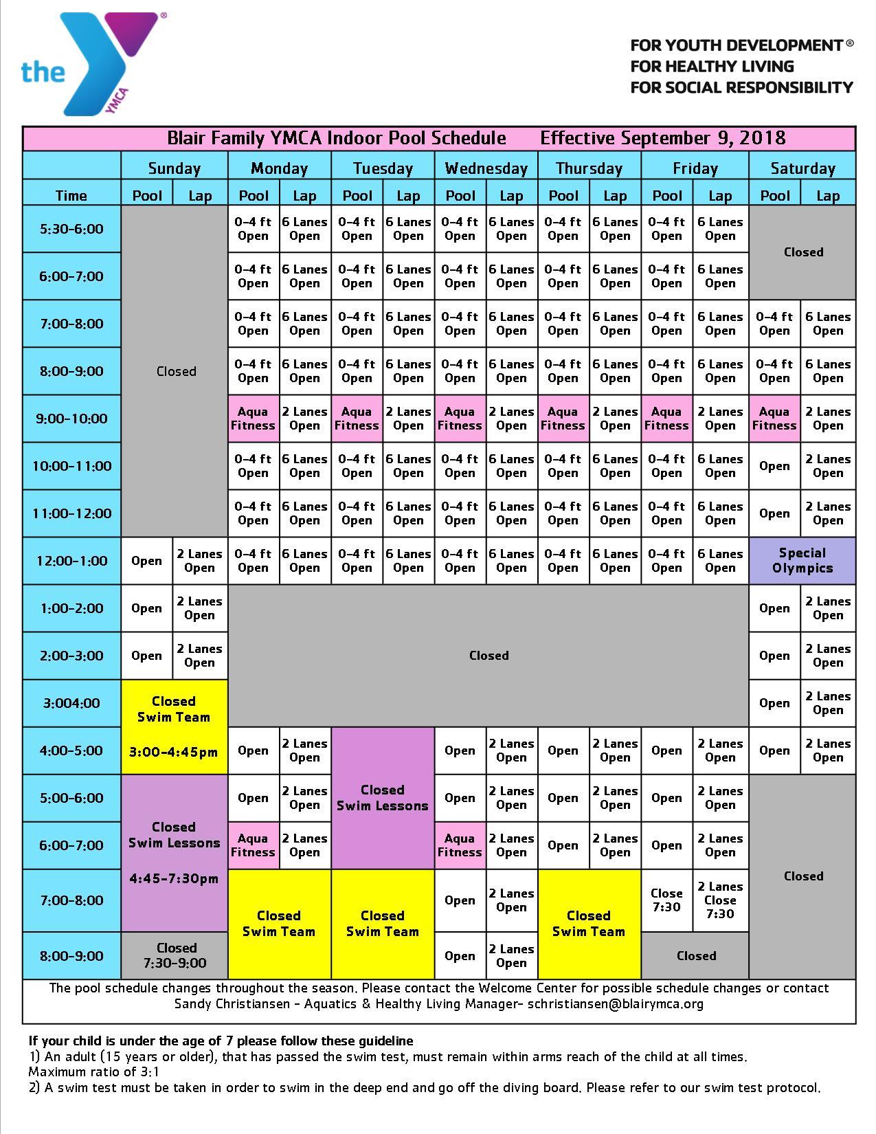 pool schedule  u2013 blair family ymca